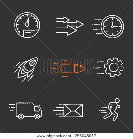 Motion Chalk Icons Set. Speed. Flying Clock, Startup, Bullet, Cogwheel, Van, Mailing, Running Man, S
