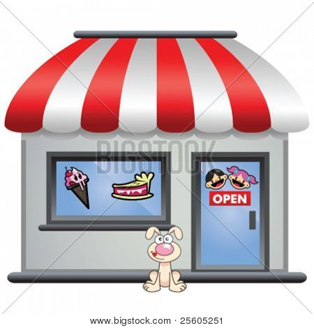 candy store with puppy in front