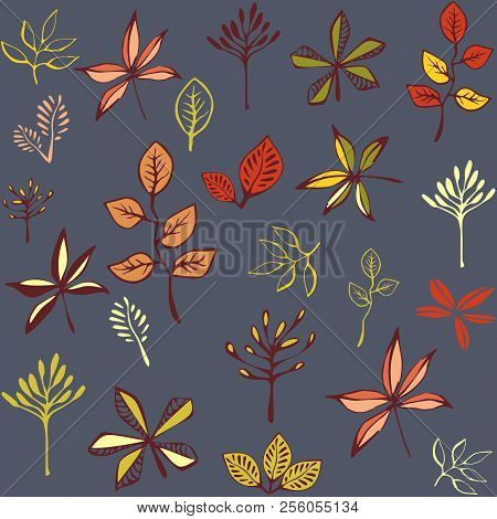 Autumn Seamless Pattern With Leaf, Autumn Leaf Background. Abstract Leaf Texture. Cute Backdrop. Lea
