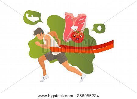 The Paleolithic Or Paleo Diet Concept Illustration: Meat Steak And Winner Runner Athlete.