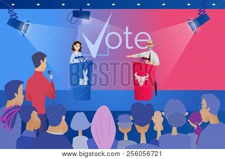 Open Debates Before Vote Cartoon Vector Concept With Leaders Of Opposing Political Parties Conductin