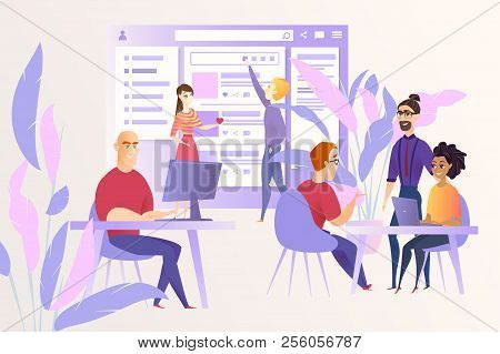 Social Network Development Cartoon Vector Concept With Programers Or Web Developers Team Working Tog