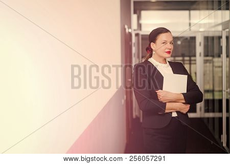 Businesswoman Or Ceo Fashion. Woman In Formal Outfit In Glass Office. Business And Success. Manager