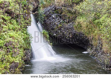 Maui Waterfall And Water Pool. Hawaii Scenic Beauty