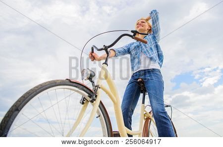 Enjoy Cycling Cruiser Bike. Woman Feels Free While Enjoy Cycling. Most Satisfying Form Of Self Trans