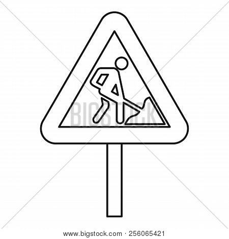 Road Works Warning Traffic Sign Icon. Outline Illustration Of Road Works Warning Traffic Sign Icon F