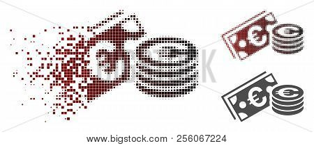 Euro Cash Icon In Fractured, Pixelated Halftone And Undamaged Solid Versions. Particles Are Composed