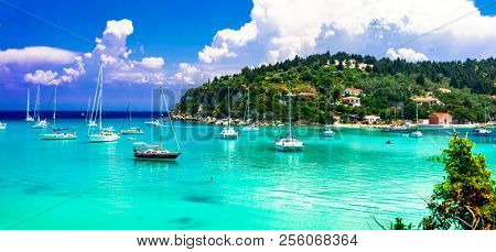 Idyllic  island Paxos with turquoise waters,Lakka bay, Ionian islands of Greece