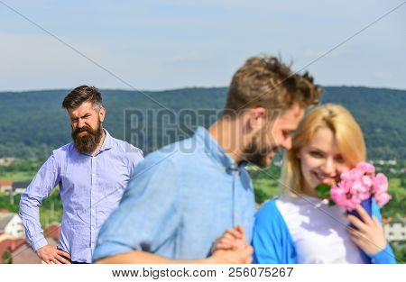 Broken Heart Concept. Couple In Love Happy Dating, Jealous Bearded Man Watching Wife Cheating Him Wi
