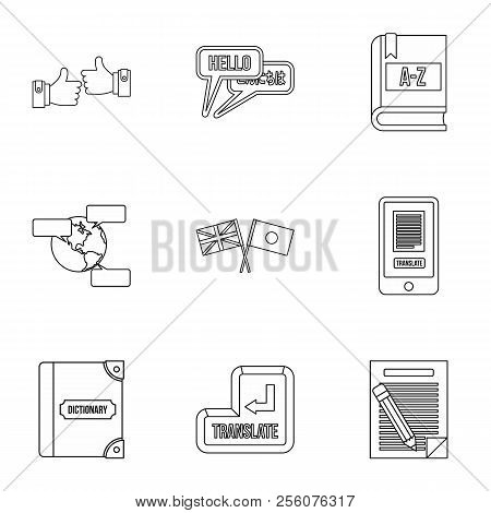 Foreign Language Icons Set. Outline Illustration Of 9 Foreign Language Icons For Web
