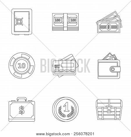 Monetary Resource Icons Set. Outline Illustration Of 9 Monetary Resource Icons For Web