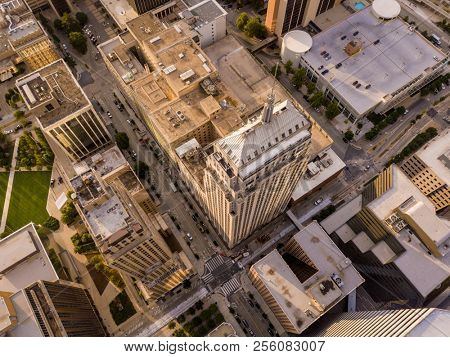 Dramatic close aerial view of skyscrapers in Oklahoma City, straight down view.