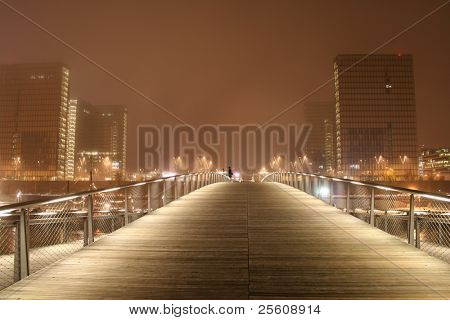 simon de beauvoir footbridge and f. mitterand library at night, paris, france