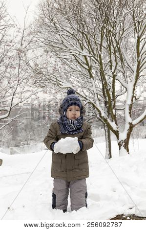 Boy Playing With Snow In The Winter Season , Location In The Park, Covered With White Snow After A S