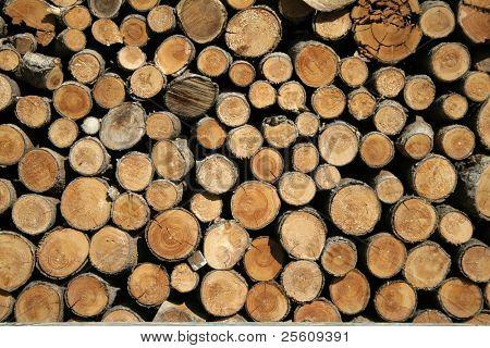 display of brown cut wood