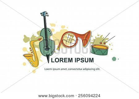 Vector Illustration, Banner Design Template With Musical Instruments. Musical Event Icon.template Fo