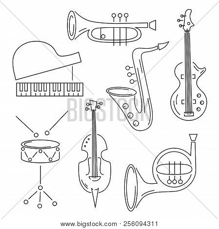 Vector Set With Music Instrument: Guitar, Piano, Saxophone, Cornet, French Horn, Violin Drum Line St
