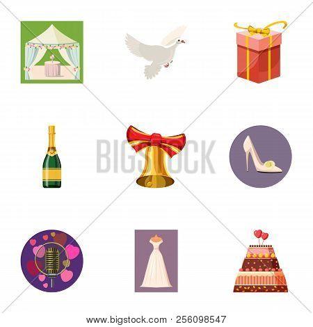 Wedding Ceremony Icons Set. Cartoon Illustration Of 9 Wedding Ceremony Icons For Web