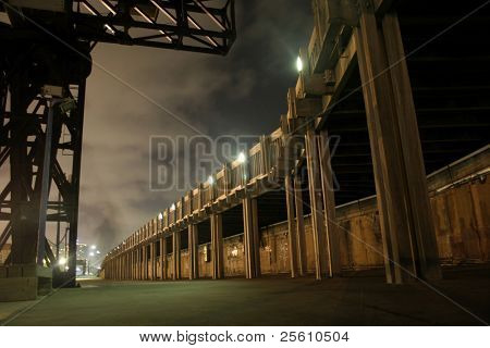 jetty walkway by night, tel aviv, israel