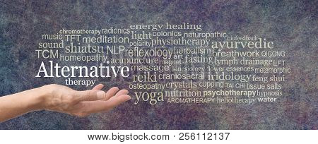 Alternative Therapy Word Cloud - Female Hand Held Palm Up The Words Alternative Therapy In White Abo