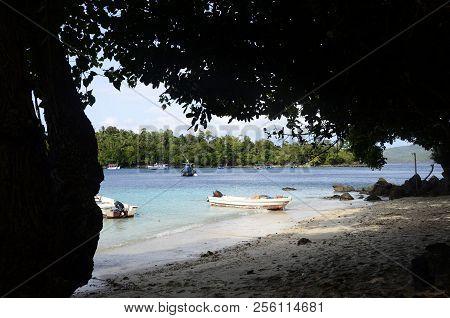 Sandy Beach, Sea And Boats In Pulau Weh Island, Sumatra, Indonesia