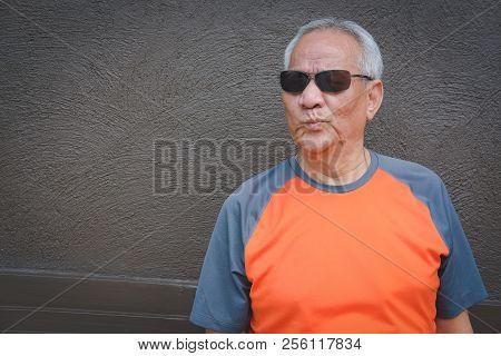 furious elder man, enraged elderly male.  angry senior. negative expression poster