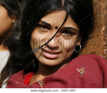 young nepali woman, annapurna, nepal