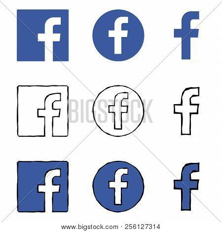Letter F Icons. Social Media Icon Set. Facebook Icon. Facebook Logo Vector Illustration.