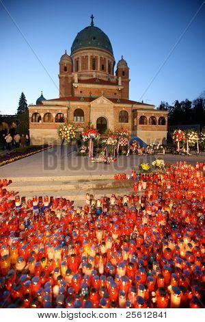 All saints celebrations in the Mirogoj cemetery in Zagreb, Croatia.