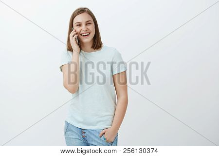 Girl Can Talk On Phone Like Forever. Portrait Of Charming Happy And Entertained Female Brunette In T