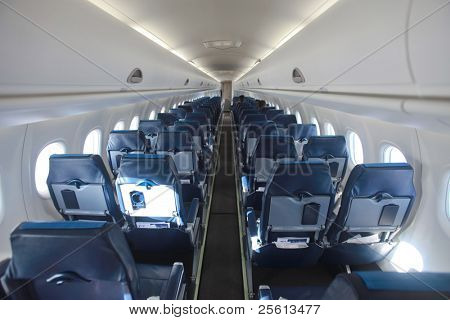 airplane interior and seats in perspective aisle