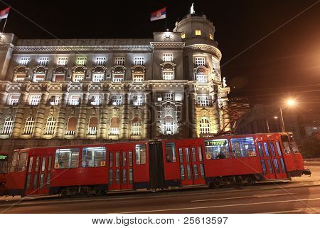 BELGRADE, SERBIA - APRIL 18 : Commuters return home on the old night tram on April 18, 2010 in Belgrade. Is Serbia's largest tram network with 127 km of track.