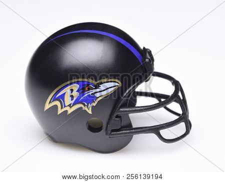 Irvine, California - August 30, 2018: Mini Collectable Football Helmet For The Baltimore Ravens Of T