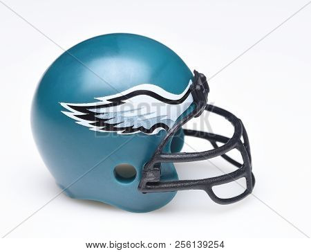 Irvine, California - August 30, 2018: Mini Collectable Football Helmet For The Philadelphia Eagles O