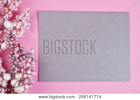 Flat Lay With The Paper For Greeting Card, To Do List Or Wish List For Holidays. Copy Space For The