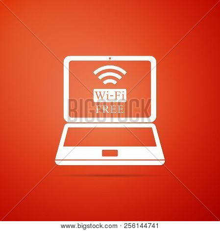 Laptop And Free Wi-fi Wireless Connection Icon Isolated On Orange Background. Wireless Technology, W
