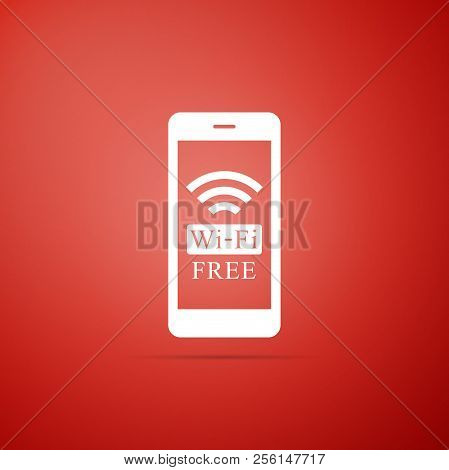 Smartphone With Free Wi-fi Wireless Connection Icon Isolated On Red Background. Wireless Technology,