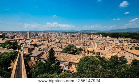 City Of Girona Cityscape With Passeig De La Muralla, Old City Wall Fortification, Catalonia, Spain