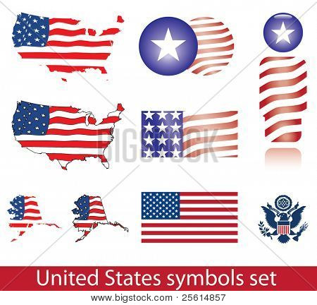 United States of America symbol set. Flag, map, seal, badge and person icon.