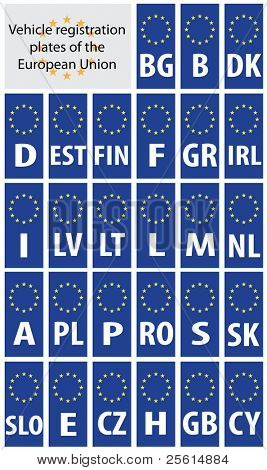 Vehicle registration plates of European Union states with country code abbreviations.