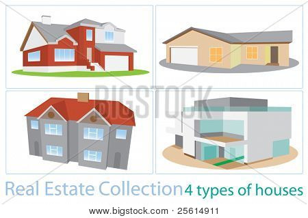 Raster version of real estate collection. Set of 4 different types of houses (vector available).