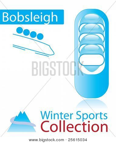 Bobsleigh from winter sports collection. sign and person icon.
