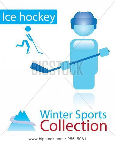 Ice hockey from winter sports collection. sign and person icon. Raster version (vector available)