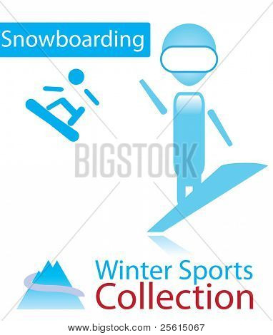 Snowboarding from winter sports collection. sign and person icon. Raster version (vector available)