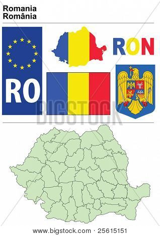 Romania collection including flag, plate, map (administrative division), symbol, currency unit & coat of arms