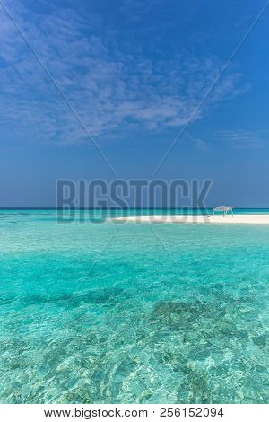 Amazing Blue Water In A Desert Island, Blue Sky Day, Wood Hut