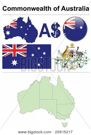 Australia collection including flag, map (administrative division), symbol, currency unit & glossy button