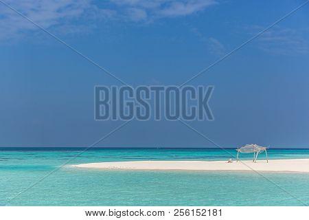 A Wood Hut In A Desert Island In Maldives, Asia