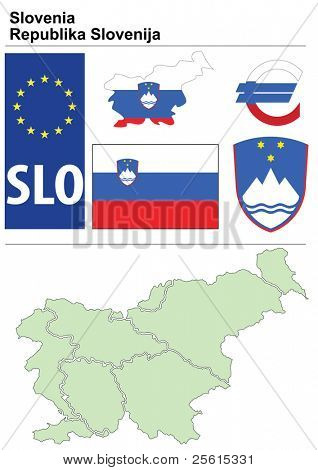 Raster version (vector available in my portfolio) of Slovenia collection including flag, plate, map (administrative division), symbol, currency unit & coat of arms