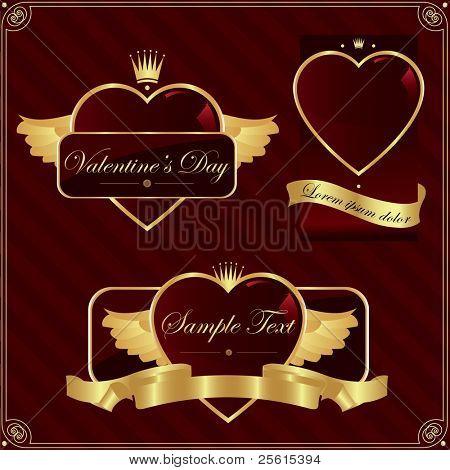 Detailed valentine's day label set.